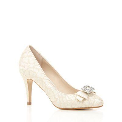 Debut Ivory lace embellished court shoes- at Debenhams.com