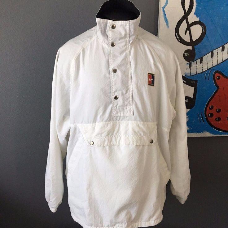 Vintage 90s Nike Jacket Size Large Logo White Windbreaker Jacket Tennis Swoosh | eBay