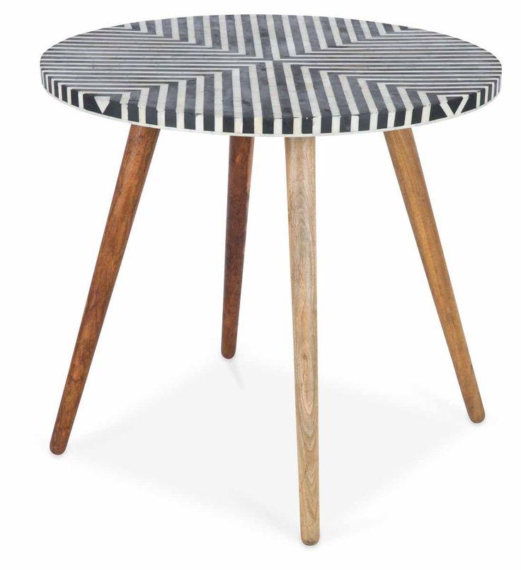 $999 Danish Coffee Table With Bone Inlay Top And Mango Wood Legs