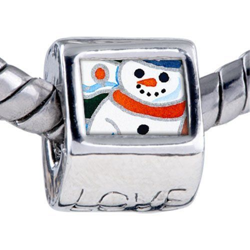 Pugster Charms Christmas Gifts Snowman Sunset Beads Fits Pandora Charm Bracelet Pugster. $12.49. Bracelet sold separately. Unthreaded European story bracelet design. Hole size is approximately 4.8 to 5mm. It's the photo on the love charm. Fit Pandora, Biagi, and Chamilia Charm Bead Bracelets