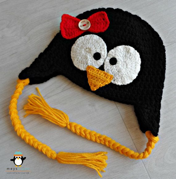 Custom Crochet Penguin Earflap Animal Hat for Newborn Baby, Infant Toddler, Child, or Cute Photo Prop by MEYS MADE for Cool Kids