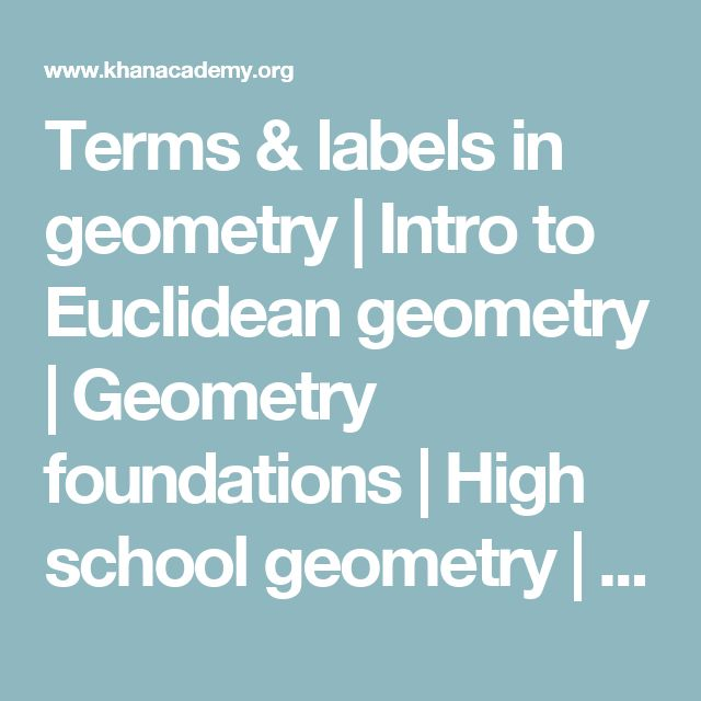 Terms & labels in geometry | Intro to Euclidean geometry | Geometry foundations | High school geometry | Khan Academy