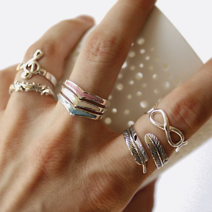 New sterling silver & mother of pearl rings...