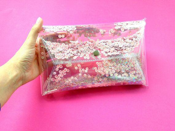 Cute sequins clutch sequin sparkle Clear purse by YPSILONBAGS