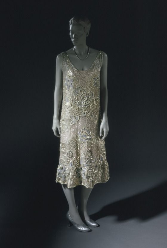 Evening Dress, Georges Doeuillet (France, Paris, active 20th century; house founded 1920-1937): ca. 1926, French, sequins and metal and crystal beads on silk chiffon, lame underdress.