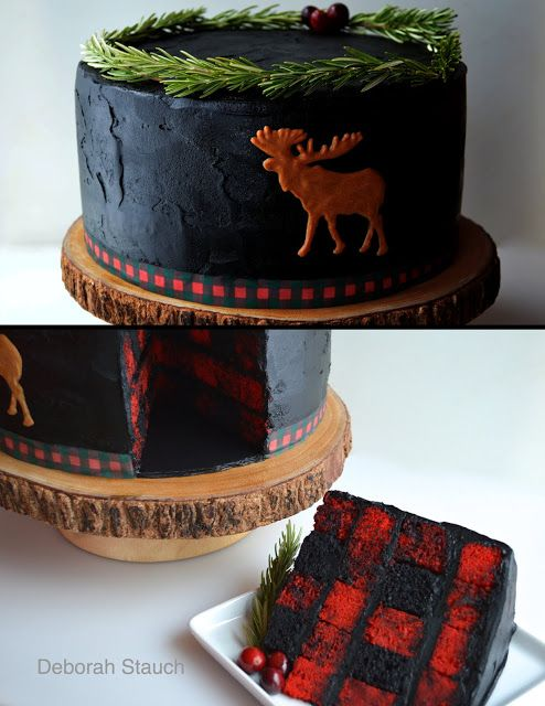 My version of Buffalo or Lumberjack Plaid. On the inside. Rosemary sprigs and cranberry toppers. Peanut butter moose. Edible image plaid strip on black buttercream.
