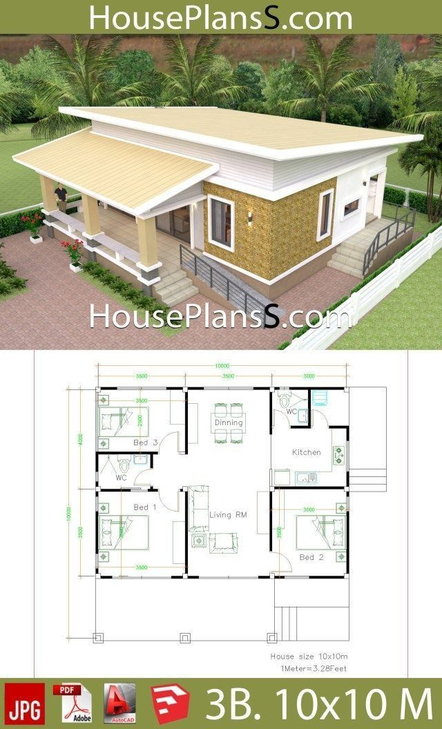 10x10 Living Room Design House Design Plans 10x10 Mit 3 Schlafzimmern Voller In 2020 House Plans Home Design Plans Small House Design
