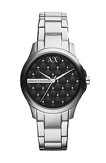 Love this Quilted Silver Watch from Armani Exchange for only $140. Unique quilted face unlink any in your collection now.