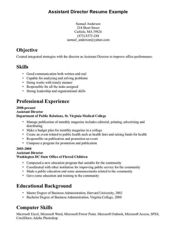 32 best Resume Example images on Pinterest Career choices - program director resume