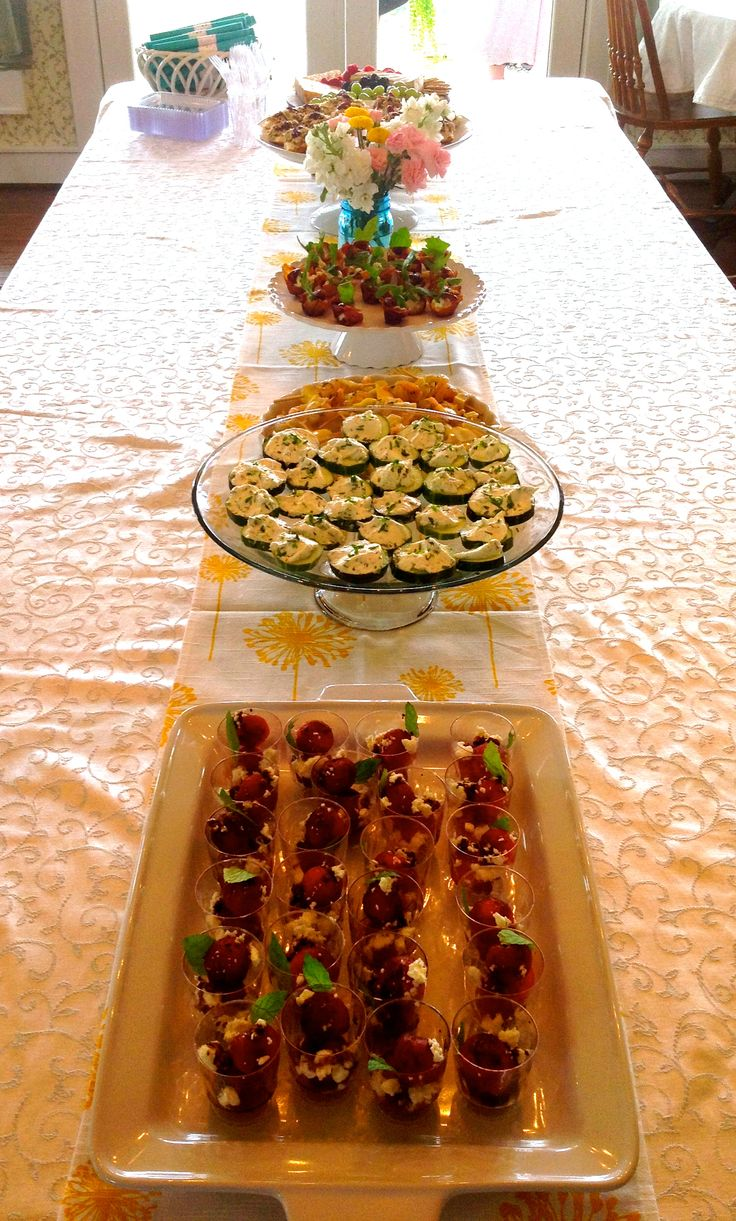 finger food ideas for bridal shower%0A kitchen themed bridal shower  food table  I like the placement of food as a