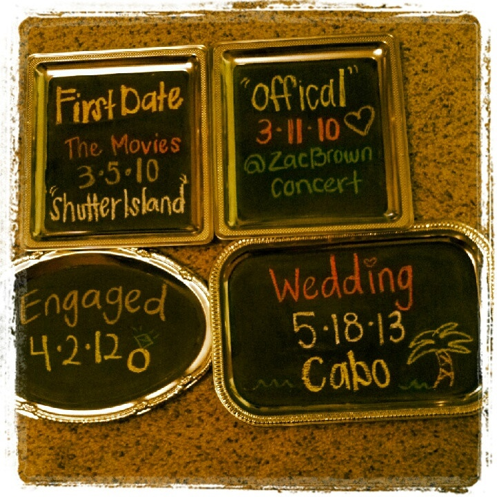 My engagement party decorations :)  Made w/ dollartree serving trays & chalkboard paint