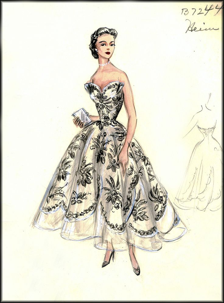 Vintage Fashion Sketches | Cocktail Dress Sketch