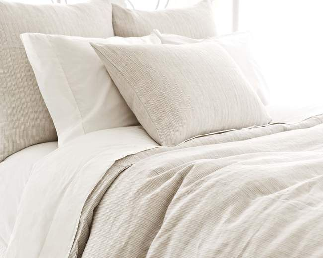 Pinstripe Linen Dove Grey Duvet Cover.  if need something neutral and not white