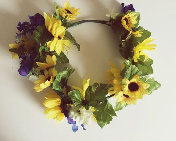 Sunny September Flower Crown Boho Bride by BirdsNestBoutiqueUK