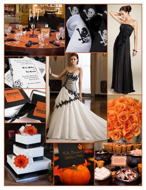 Halloween Wedding Theme Idea Orange Rose Bouquet White With Black Lace  Wedding Bride Bridal Gown Dress Black Bridesmaid Skull And Bones Orange And  Black ... Part 29