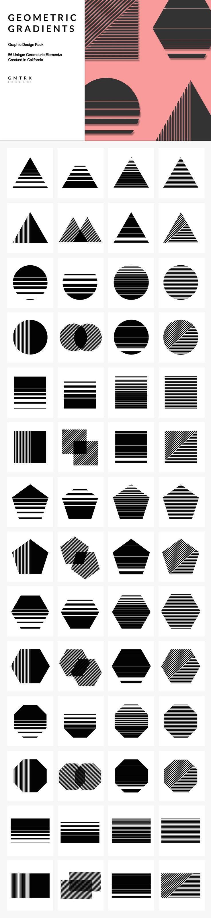 Geometric Gradient Design Kit geometric geometry vector icons shapes graphics illustrator photoshop psd ai graphic branding logo minimal minimalist