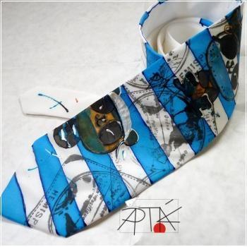 silk tie, 100% natural silk, hand painted by Apták