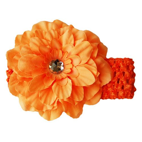 Orange Peony Flower Headband