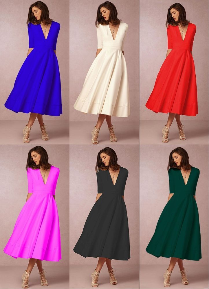 80b39ed6a6 New Women Solid Deep V-Neck Half Sleeve Party Cocktail Evening Formal Midi  Dress #fashion #clothing #shoes #accessories #womensclothing #dresses (ebay  link)