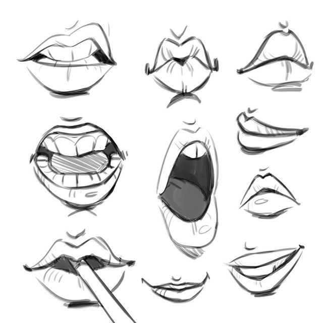 My new favorite thing to draw: lips. - Body Parts challenge day 26.