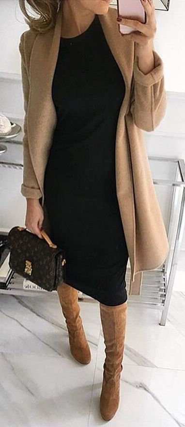 #fall #outfits / black dress + camel coat