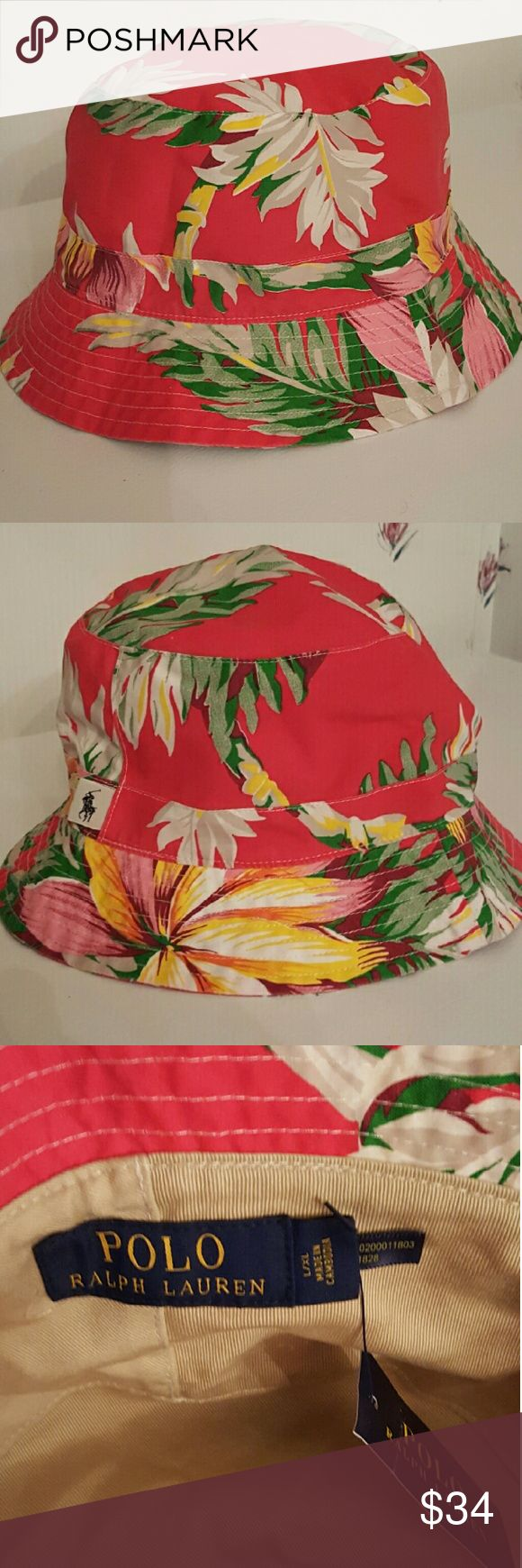 Men's Polo Ralph Lauren Floral Bucket Hat L/XL With a vibrant all-over floral pattern this bucket hat is a perfect style for your next tropical getaway or just on a weekend boardwalk stroll. L/XL Ralph Lauren Accessories Hats