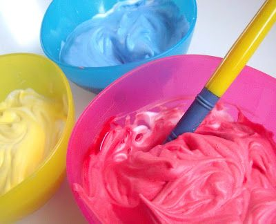 Shaving Foam with food colouring = bath fun!  kids loved this, said it was more fun than the glow sticks in the bath.  I mixed 6 colours in a small muffin tin.  They enjoyed finger painting more than using brushes.