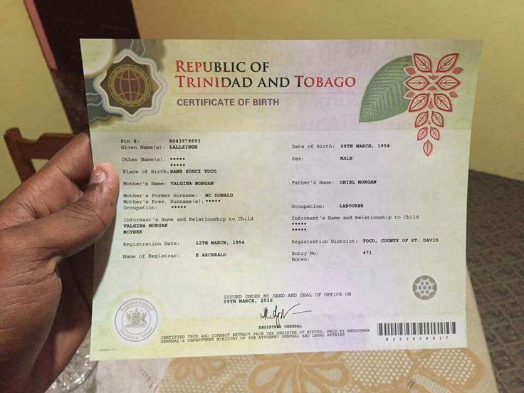 The new Trinidad and Tobago birth certificate...nice | Trinidad ...