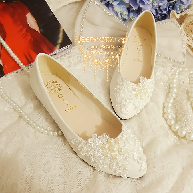 OTHER 2014 White Lace And Pearls Handmade Flat Leather Waterproof Womens Exclusive Bridesmaid Bridal Wedding Shoes