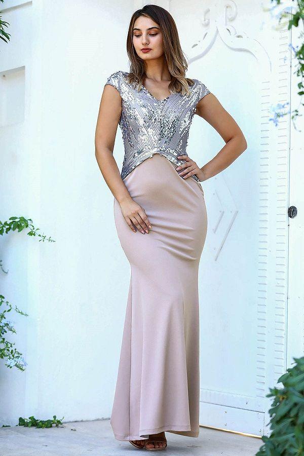 فستان سهرة بيج موديل سمكة بجزء علوي ترتر Beige Evening Dresses Evening Dresses Check Dress