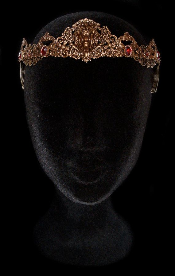 Lion Crown Bronze Circlet Tiara Red Ruby Cersei Lannister Medieval Renaissance Middle Age Jewellery Game of Thrones Hear Me Roar