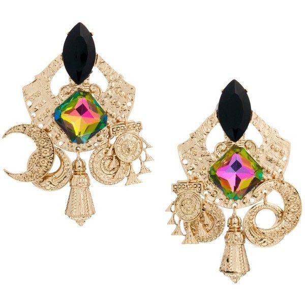 ASOS Turkish Delight Earrings ($33) ❤ liked on Polyvore featuring jewelry, earrings, gold, bullet jewelry, charm jewelry, earring jewelry, earring charms and bullet stud earrings