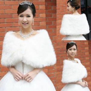faux fur wrap with pearl detailed button - wedding, evening