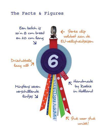 Vrolijke verjaardagsbadges van #Roebie. Verkrijgbaar in winkel & webshop van #KikiBo (www.kikibo.nl)