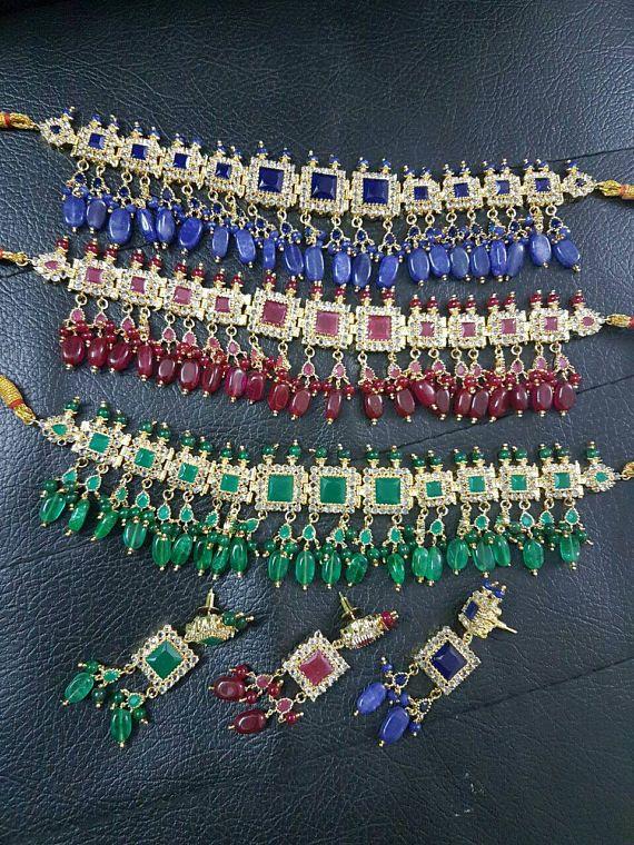 Joyería de Hyderabadi Mughal, piedras oro pakistaní gargantilla de perla, piedras semi preciosas y sistema de la joyería de Nizam, Jadua collar