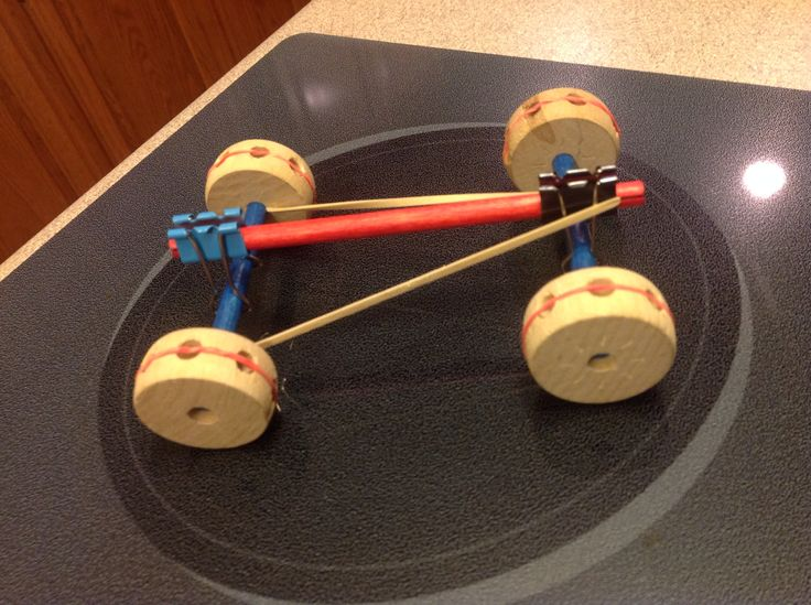 Rubber Band Powered Car Out Of Tinker Toys And Clips