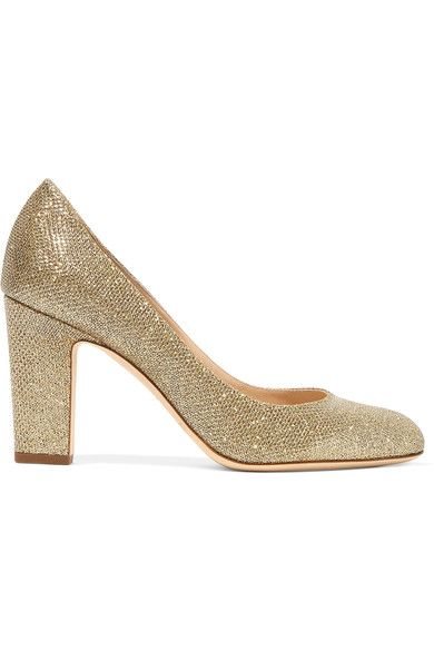 Heel measures approximately 85mm/ 3.5 inches Gold and silver textured-lamé Slip on Made in Italy