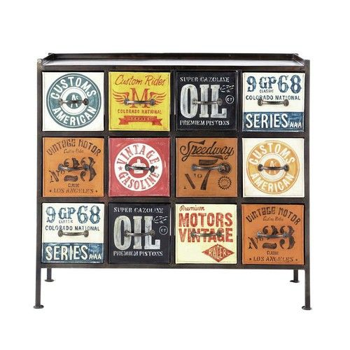 Meerkleurige metalen industriële kabinetkast B 107 cm