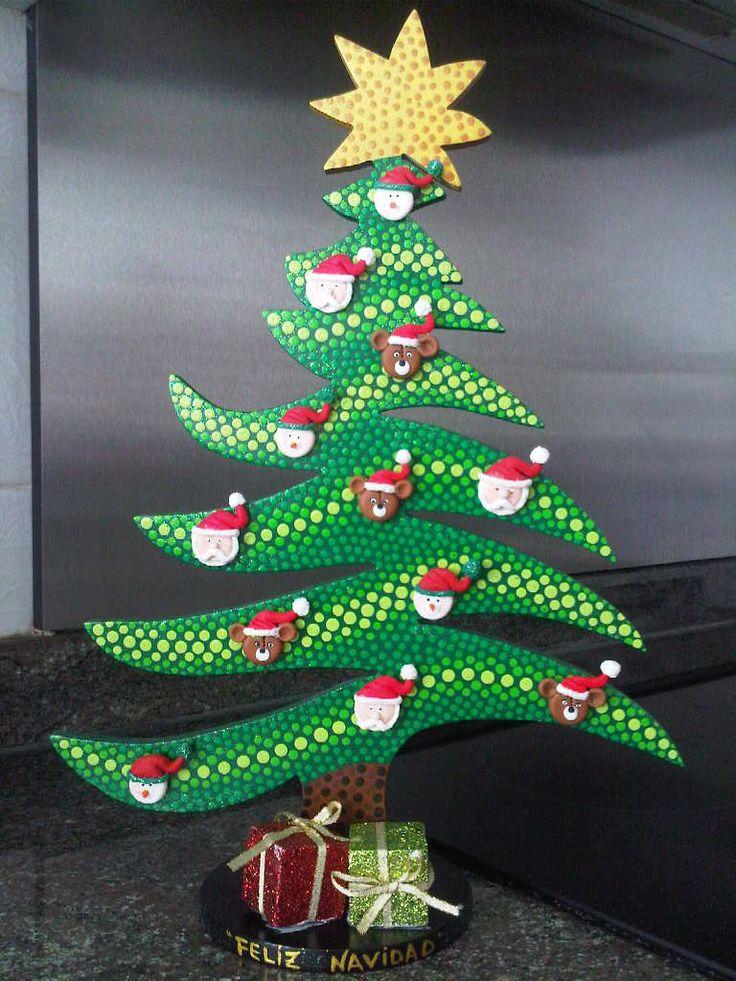 Arbol de navidad en puntillismo madera country - Adornos para arbol navidad ...