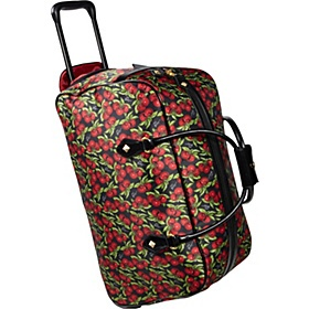 Betsey Johnson Luggage Punk Rock 22 Wheeled Duffel Bag Cherry Print Via Ebags