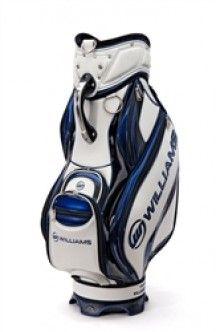 """Bolsa de golf Williams Sports FW32 Staff Bag blanca y azul, bolsa para carro con una boca de acceso de 9"""" y 6 divisores parciales y 2 divisores completos hasta abajo. Bolsa de golf muy completa, con amplios bolsillos para llevar ropa, bolsillo para las bebidas, bolsillo para llevar los objetos de valor, bolsillo para bolas de golf y demás accesorios. Logotipo de Williams incorporado."""