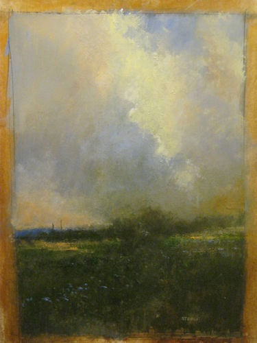 """""""Distant Storm"""" Original Watercolor & Gouache Painting by Nashville Artist Darryl Glenn Steele 11"""" x 8-1/4"""" Watercolor & Gouache on Paper"""