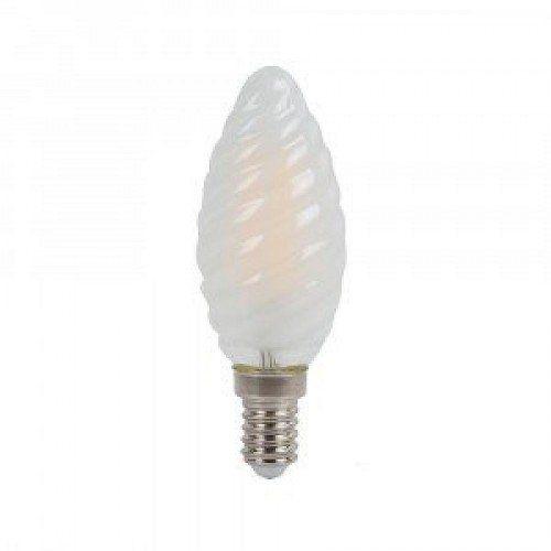 LED lámpa , égő , izzószálas hatás , gyertya , csavart , E14 foglalat , 4 Watt , hideg fehér , opál