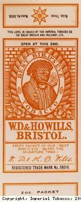 """Wrapper for WD and HO Wills' Best Bird's Eye tobacco.  """"Even after the freeing of slaves in America in 1865, many African Americans continued to work on the tobacco and cotton plantations where they had previously worked as slaves.� This, and the attitude to black people generally, was reflected in the continued use of the image of a black man or woman on British tobacco packaging and advertising until about 1960."""""""