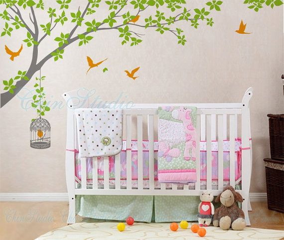 Leafy branch tree wall decal branch birdcage by NatureHomeArts, $52.00