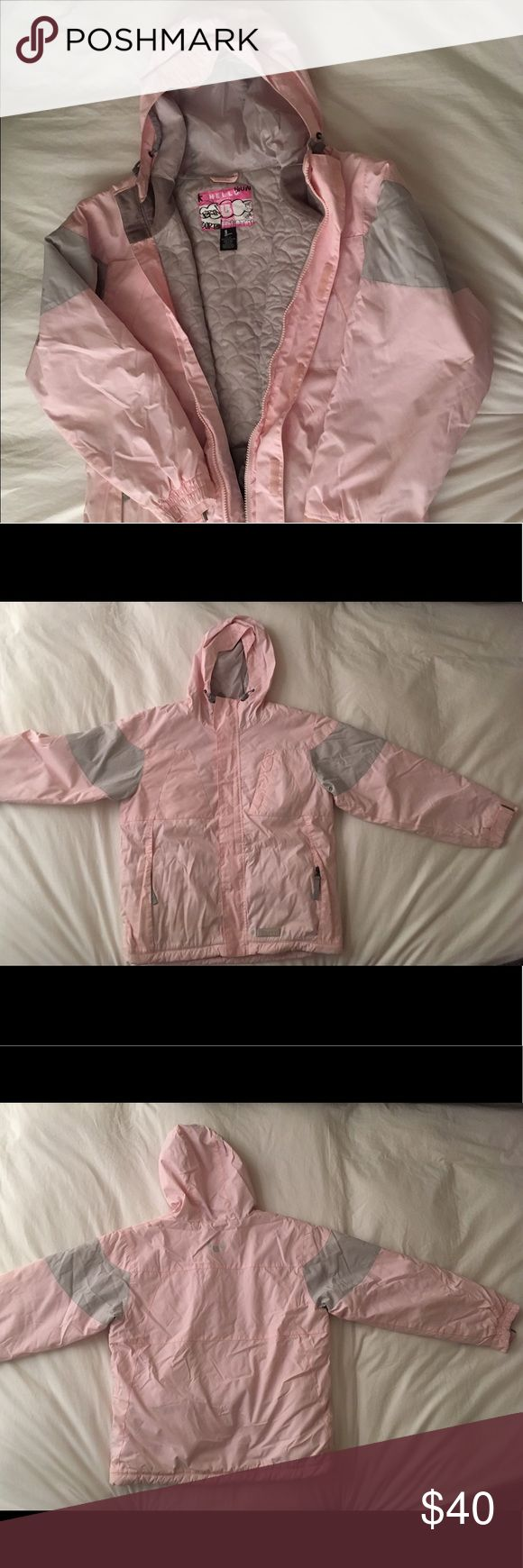 """Burton snowboarding jacket Kids size L. Warm pink/gray snowboarding jacket.  I am 5'2"""", 110lbs and it fits perfectly. Attached liner included with secret pocket. Pre-owned. No damages. Perfect for both winter and spring ski weather. Burton Other"""