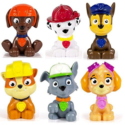 """Nickelodeon's Paw Patrol mini figurines/ cake toppers. Includes one 1.5"""" figurine of each character. Ages 3+ toys4mykids.com"""