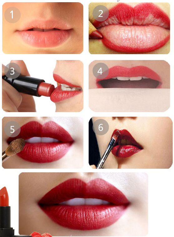 Appliquer parfaitement son Rouge à Lèvres : A l'aide d'un crayon rouge tracez le contour de vos lèvres et remplissez l'intérieur sans déborder, à l'aide d'un pinceau à lèvres appliquez votre rouge à lèvres par dessus, poudrez ensuite délicatement à l'aide d'une poudre translucide ou enlevez le surplus avec un mouchoir en le collant sur vos lèvres.