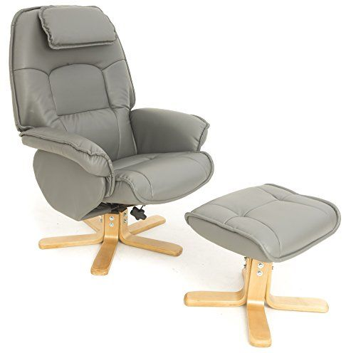 Relaxateeze Avanti Bonded Leather Swivel Recliner Chair & Foot Stool in Oxford Grey