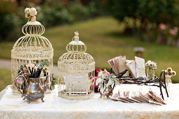 shabby chic birdcage guest book